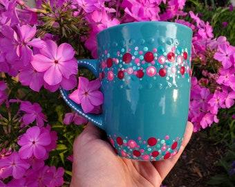 Aqua pink blue teal confetti ceramic mug, pink polkadot mug, colorful dot mug, teal polkadot mug, blue dot mug, metallic mug, polkadot gift