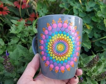 Rainbow mandala ceramic mug, polkadot rainbow mug, rainbow pride mandala mug, rainbow dot gray mug, colorful mug, pride gift, rainbow gift