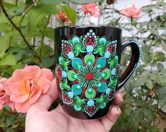 Aqua green teal red mandala ceramic mug, aqua mandala mug, teal mandala mug, green mandala mug, aqua mandala dot mug, mandala gift