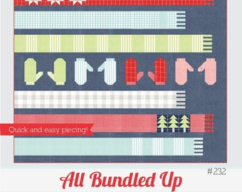 """All Bundled Up Quilt Pattern - Thimble Blossoms Pattern - Camille Roskelley - Bonnie and Camille - Fat Quarter Pattern - 72"""" x 82"""" Quilt"""