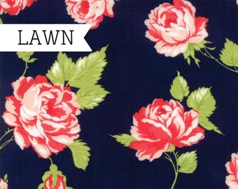 Smitten Lawn Fabric - Navy Flower Lawn Fabric - Bonnie & Camille - Moda Fabric - Lawn Fabric - Floral Fabric - Sold by the Yard