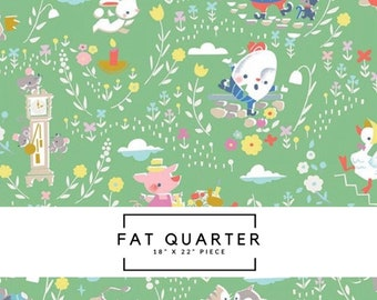 Fat Quarter   Once Upon A Rhyme Fabric - Once Upon A Rhyme Green Fabric - Jill Howarth