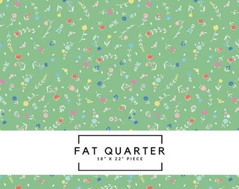 Fat Quarter | Once Upon A Rhyme Fabric - Flower Toss Green Fabric - Jill Howarth
