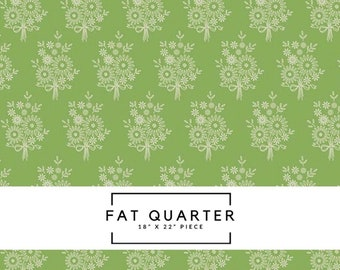 Fat Quarter - Harry & Alice Fabric - Green Vintage Stitchery Fabric - Amanda Herring - Riley Blake Designs - Floral Fabric