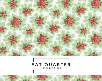 Fat Quarter - Good Tidings Fabric - Linen White Christmas Bouquets Fabric - Brenda Riddle - Moda Fabric - Christmas Fabric