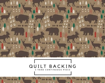 5 Yard Quilt Backing - High Adventure 2 - Tan Main Fabric - Design by Dani - Wilderness Fabric - Western Fabric