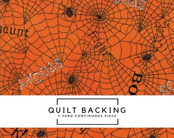5 Yard Quilt Backing - Bewitching Fabric - Orange Web Words Fabric - Deb Strain - Moda Fabric - Halloween Fabric - Spider Web Fabric