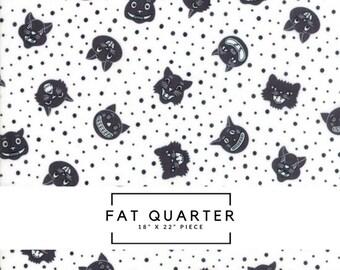 Fat Quarter   Dot Dot Boo Fabric - Black Dotty Cat Fabric - Me & My Sister Designs