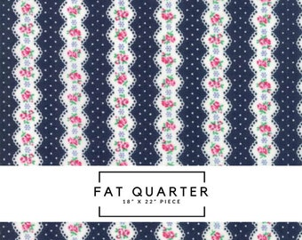 Fat Quarter | Guest Room Fabric - Navy Floral Stripe Fabric - Kristyne Czepuryk - Moda Fabric - Floral Fabric - Stripe Fabric