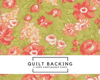 5 Yard Quilt Backing | Farmhouse II Fabric - Green Blooms Fabric - Fig Tree & Co - Moda Fabric - Floral Fabric - Flower Fabric