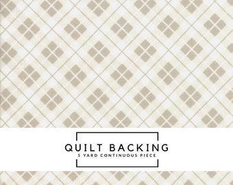 5 Yard Quilt Backing | Orchard Fabric - Tan Picnic Basket Fabric - April Rosenthal - Moda Fabric - Plaid Fabric - Geometric Fabric