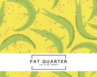 Fat Quarter   Yellow Alligator Fabric - Everglades Fabric - Betsy Siber