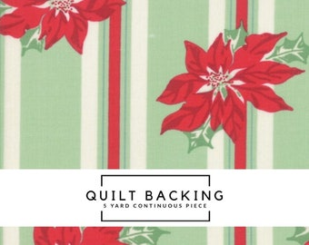 5 Yard Quilt Backing | Sweet Christmas Fabric - Green Poinsettia Stripe Fabric - Urban Chiks - Moda Fabric - Stripe Fabric
