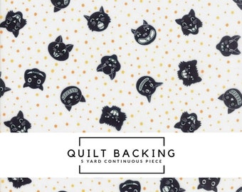 5 Yard Quilt Backing | Dot Dot Boo Fabric - White Dotty Cat Fabric - Me & My Sister Designs