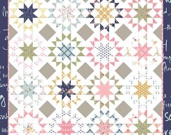 """Homeward Bound Quilt Pattern - Keera Job - Star Quilt Pattern - Fat Quarter Pattern - 96"""" x 96"""" Quilt"""