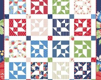 "Flower Basket Quilt Pattern - Keera Job - Basket Quilt Pattern - Fat Eighth Quilt Pattern - 84.5"" x 84.5"" Quilt"