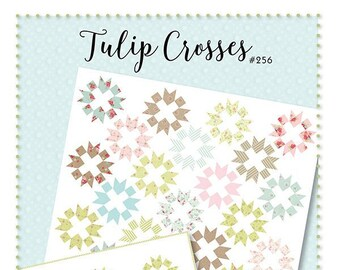 "Tulip Crosses Quilt Pattern - Acorn Quilts - Moda Fabric - Fat Eighth Quilt Pattern - 77"" x 77"" Quilt"