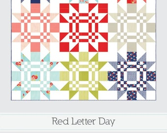 "Red Letter Day Quilt Pattern - Thimble Blossoms Pattern - Camille Roskelley - Bonnie and Camille - Fat Quarter Pattern - 67.5"" x 67.5"" Quilt"
