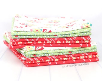 Vintage Happy 2 Red & Green Half Yard Bundle - Lori Holt