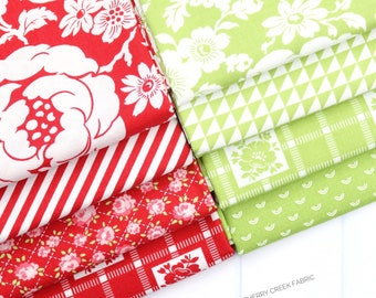 Shine On Red & Green Fat Quarter Bundle - Shine On Fabric - Bonnie and Camille - Moda Fabric - Flower Fabric - 8 pieces