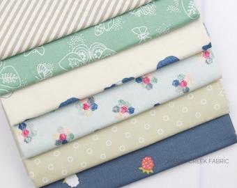 Tan & Blue Fat Quarter Bundle - Various Designers - 6 pieces