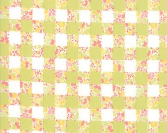 Strawberry Jam Fabric - Green Gingham Garden Fabric - Corey Yoder - Moda Fabric - Floral Fabric - Flower Fabric - Fabric by the Yard