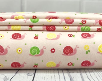 Flannel Fabric - Pink Snails Fabric - Riley Blake Designs - Pink Flannel Fabric - Snails Fabric