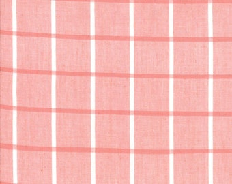 Pink Windowpane Woven Fabric - Bonnie and Camille Wovens - Moda Fabric - Plaid Fabric - Woven Fabric - Sold by the Yard