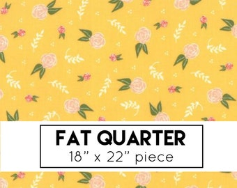 FAT QUARTER | Clover Hollow Fabric by Sherri & Chelsi | Yellow Floral Dream Fabric - Moda Fabric - Yellow Flower Quilt Fabric