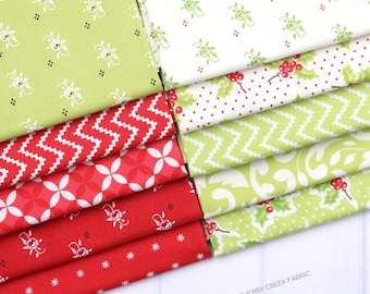 Christmas Figs II Red & Green Fat Quarter Bundle - Fig Tree and Co - Moda Fabric - Holiday Fabric - Fabric Bundle - 10 pieces