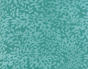 Dear Mum Fabric - Teal Leaves Fabric - Robin Pickens