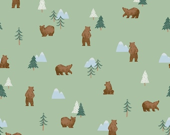 Pistachio Grizzly Bears Fabric - Natàlia Juan Abelló - Riley Blake Fabrics - Outdoor Fabric - Bear Bundle - Green Fabric - Sold by the Yard