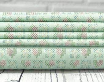 Grandale Fabric - Mint Heart Stitches Fabric - Keera Job