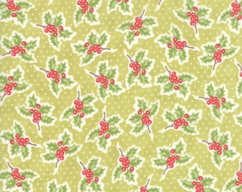 Mistletoe Holly Fabric - Christmas Figs II Fabric - Fig Tree and Co - Moda Fabric - Green Holiday Fabric - Floral Fabric - Sold by the Yard