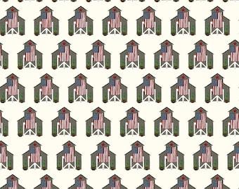 Celebrate America Fabric - Cream Barns Fabric - Echo Park Paper Co. - Riley Blake Designs - Patriotic Fabric - Sold by the Yard