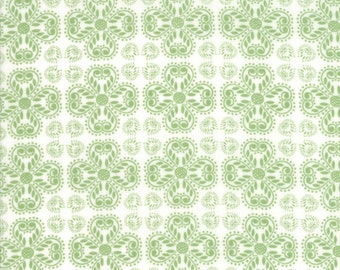 Good Tidings Fabric - Green Pine Heart Snowflakes Fabric - Brenda Riddle - Moda Fabric - Christmas Fabric - Sold by the Yard