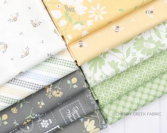 Spring Brook Gray, Green & Yellow Fat Quarter Bundle - Corey Yoder - Moda Fabrics - Floral Fabric - Fabric Bundle - 10 pieces