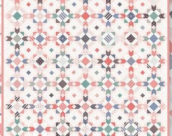 "Early Riser Quilt Pattern - Pretty By Hand - Moda Fabrics - Fat Quarter Pattern - 83.75"" x 83.75"" Quilt"