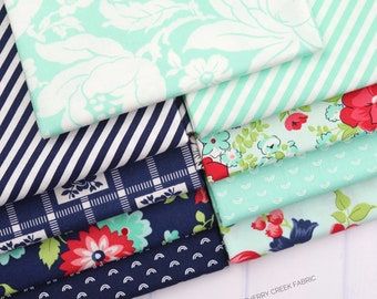Shine On Aqua & Navy Fat Quarter Bundle - Shine On Fabric - Bonnie and Camille - Moda Fabric - Flower Fabric - 9 pieces