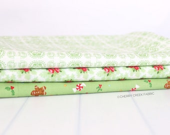 Good Tidings Green One Yard Bundle - Brenda Riddle Designs - 3 pieces
