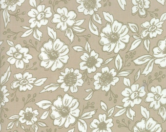 FAT QUARTER | Tan Floral Fabric - Bloomington Fabric - Lella Boutique - Moda Fabrics - Fabric Bundle - Flower Fabric