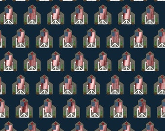 Celebrate America Fabric - Navy Barns Fabric - Echo Park Paper Co. - Riley Blake Designs - Patriotic Fabric - Sold by the Yard