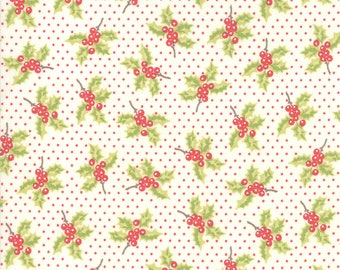 Snowflake Holly Fabric - Christmas Figs II Fabric - Fig Tree and Co - Moda Fabric - Cream Holiday Fabric - Floral Fabric - Sold by the Yard