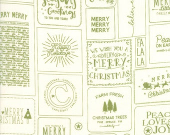 The Christmas Card Fabric - Green Christmas Cards Fabric - Sweetwater - Moda Fabrics - Sold by the Yard