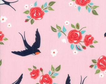 Rosa Fabric - Pink Floral Bird Fabric - Crystal Manning - Moda Fabric - Floral Fabric - Flower Fabric - Bird Fabric - Sold by the Yard