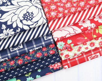 Shine On Red & Navy Fat Quarter Bundle - Shine On Fabric - Bonnie and Camille - Moda Fabric - Flower Fabric - 12 pieces