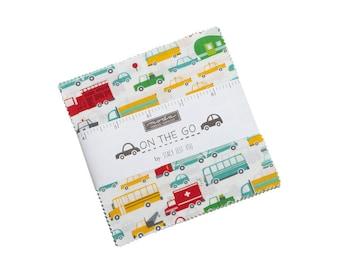 On the Go Charm Pack - Stacy Iest Hsu - Moda Fabrics - Car Fabric - Boy Fabric - Truck Fabric - 42 pieces