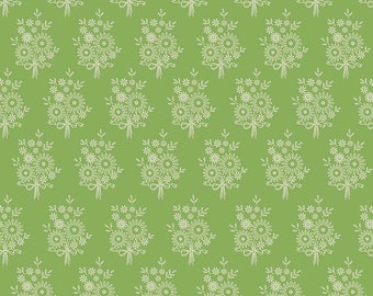 Harry & Alice Fabric - Green Vintage Stitchery Fabric - Amanda Herring - Riley Blake Designs - Floral Fabric - Sold by the Yard