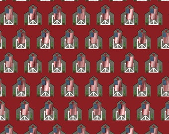 Celebrate America Fabric - Red Barns Fabric - Echo Park Paper Co. - Riley Blake Designs - Patriotic Fabric - Sold by the Yard