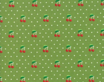 Orchard Fabric - Green Cherry Pie Fabric - April Rosenthal - Moda Fabric - Cherry Fabric - Cherries Fabric - Sold by the Yard